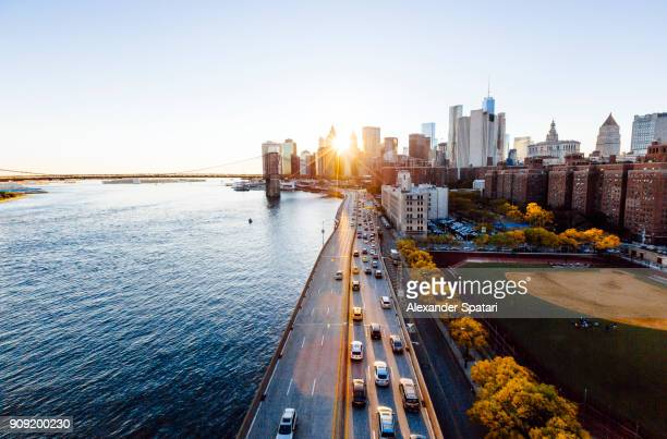 New York cityscape elevated view during sunset, New York State, USA