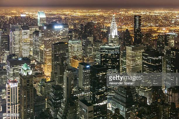 New York cityscape with illuminated skyscrapers at night, New York City, USA