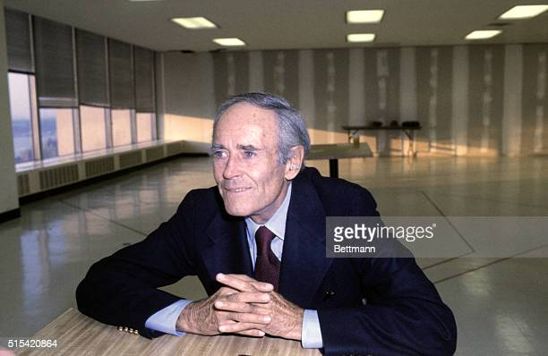 Close up of actor Henry Fonda during rehearsal for play First Monday in October