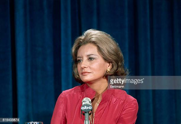 New York: Close up of Barbara Walters during press conference.