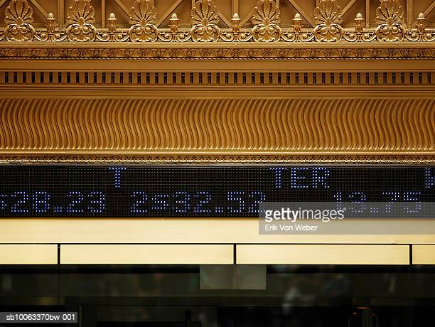 USA, New York, close-up of digital ticker tape and gold details outside New York's stock exchange