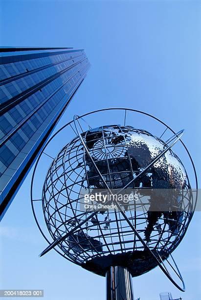 USA, New York, Columbus Circle, globe on monument, low angle view