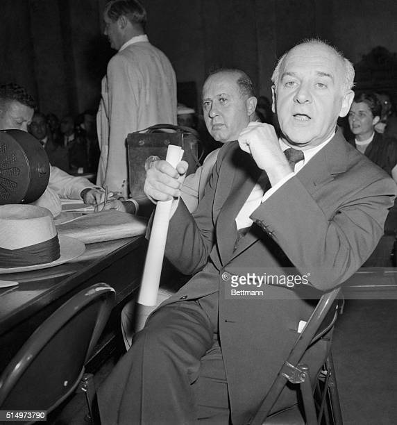 New York columnist Walter Winchell appears on the witness stand before the special Senate Censure Committee, as he refused to tell the committee who...
