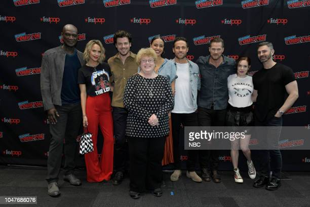 MIDNIGHT TEXAS New York Comic Con 2018 Pictured Peter Mensah Arielle Kebbel François Arnaud author of the original book series Charlaine Harris...
