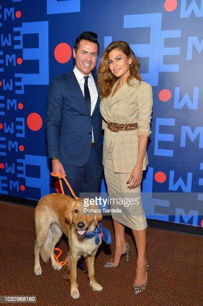 New York Company's CEO Greg Scott and Eva Mendes attend Eva Mendes for New York Company Fall Holiday 2018 Fashion Show at The Palace Theatre on...