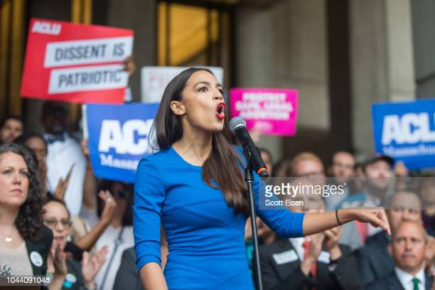 New York Congressional candidate Alexandria Ocasio-Cortez speaks at a rally calling on Sen. Jeff Flake to reject Judge Brett Kavanaugh's nomination...