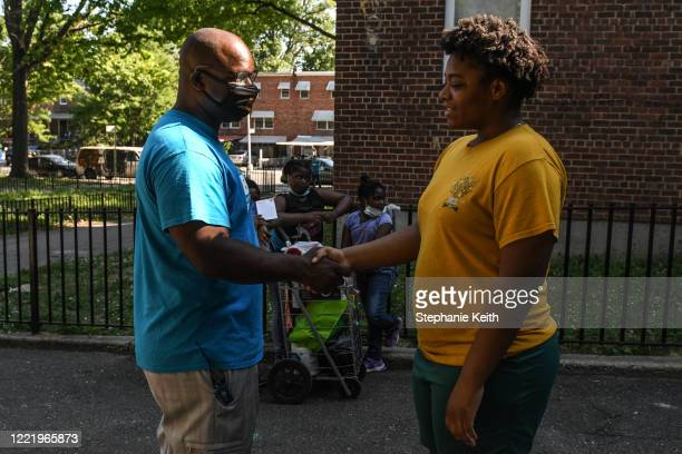 New York Congressional candidate Jamaal Bowman campaigns the day before election day on June 22 2020 in Edenwald Houses in the Bronx borough in New...