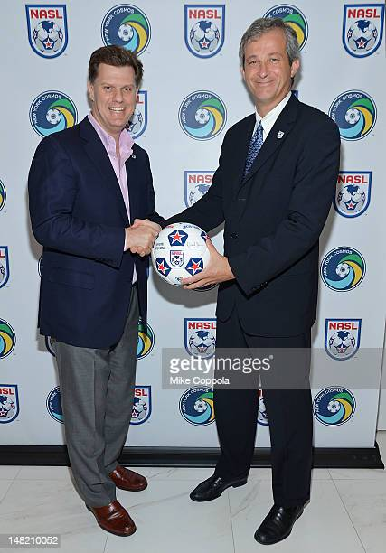 New York Cosmos Chairman Seamus O'Brien and NASL Commissioner David Downs commemorate the franchise's return to the NASL its historic home on July 12...