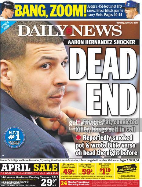 New York Daily News Back Page Thursday April 20 DEAD END