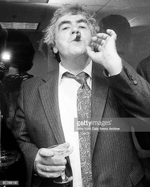 New York Daily News columnist Jimmy Breslin celebrating after winning Pulitzer Prize award