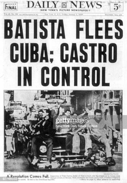 New York Daily News front page dated 1/2/59 Headline Batista Flees Cuba Castro in Control Castro wins Cuban revolution