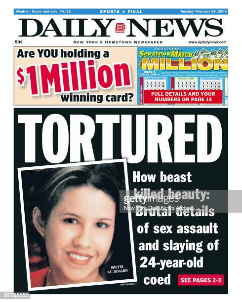 New York Daily News front page dated Feb 28 Headlines TORTURED How beast killed beauty Brutal details of sex assault and slaying of 24yearold coed...