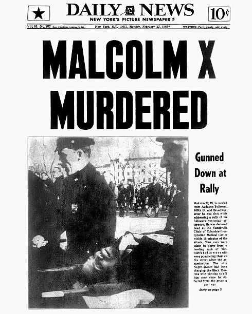 New York Daily News front page dated February 22, 1965. Head