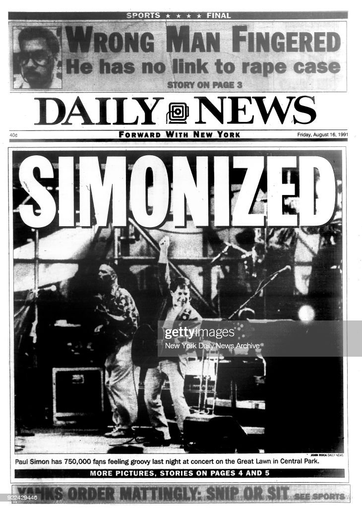 New York Daily News front page Friday, August 16, 1991, SIMONIZED : News Photo