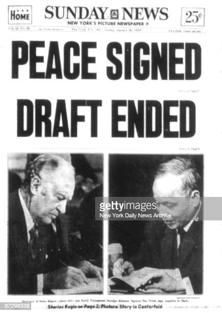 New York Daily News front page January 28 Headline Peace Signed Draft Ended Vietnam War ends with ceasefire