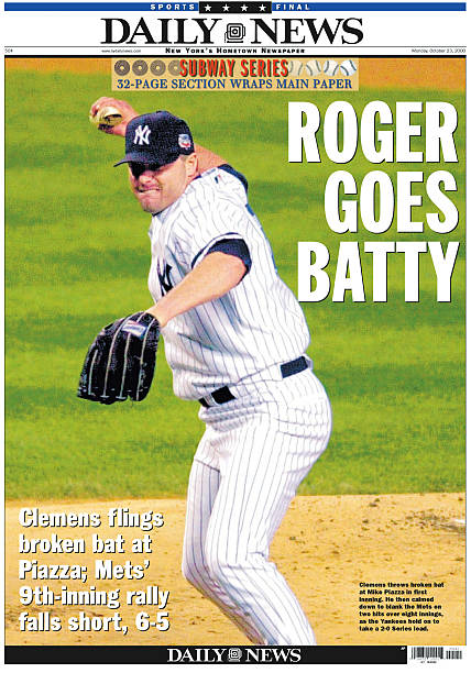 New York Daily News front page, ROGER GOES BATTY, Clemens fli
