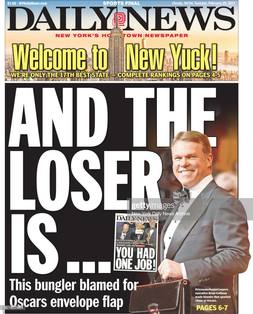 New York Daily News front page Tuesday, February 28, 2017, AND THE LOSER IS... : Foto di attualità