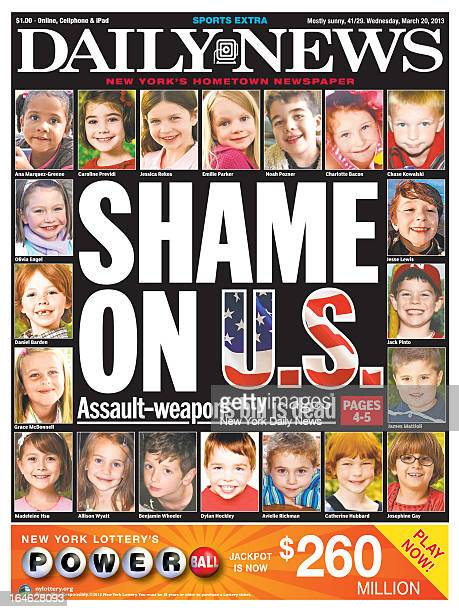 New York Daily News March 202013 front pageSHAME ON USAssaultweapons bill is dead