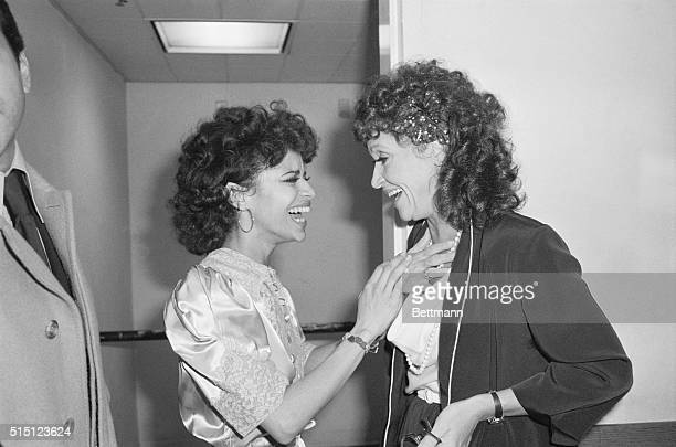 Debbie Allen star of the new Broadway production of West Side Story is congratulated backstage by Chita Rivera who was the original Anita 23 years ago