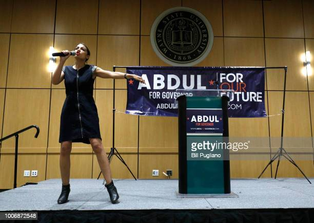 New York Democrat candidate for Congress Alexandria OcasioCortez campaigns for Michigan Democratic gubernatorial candidate Abdul ElSayed at a rally...