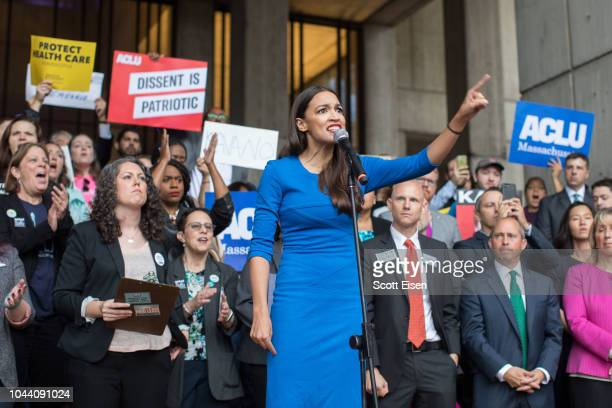 New York Democratic congressional candidate Alexandria Ocasio-Cortez speaks at a rally calling on Sen. Jeff Flake to reject Judge Brett Kavanaugh's...