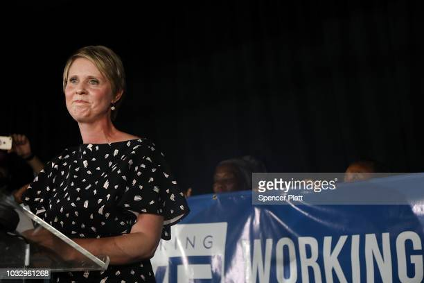New York Democratic primary candidate for governor Cynthia Nixon makes a concession speech at a Brooklyn restaurant on September 13 2018 in New York...