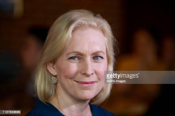 New York Democratic Senator Kirsten Gillibrand campaigns for President of the United States with Drake University Democrats at Papa Keno's Pizzeria...