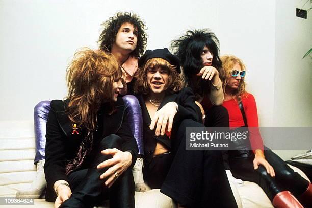 New York Dolls, group portrait, London, November 1973, L-R Jerry Nolan, Sylvain Sylvain, David Johansen, Johnny Thunders, Arthur Kane.