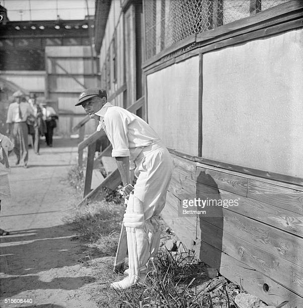 New York: Don Bradman, star batsman of the Australian cricket team, shown during the opening match of the Australians campaign in the United States...
