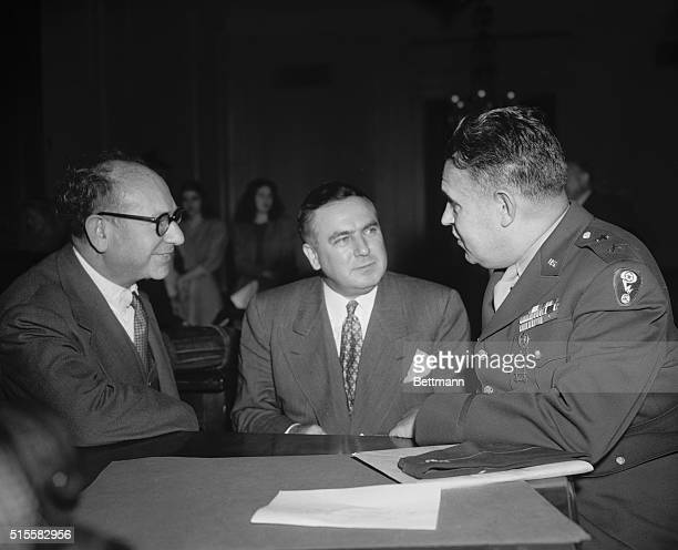New York economist Alexander Sachs testifies at the Senate Special Committee on Atomic Energy with Committee Chairman Senator Brien McMahon of...