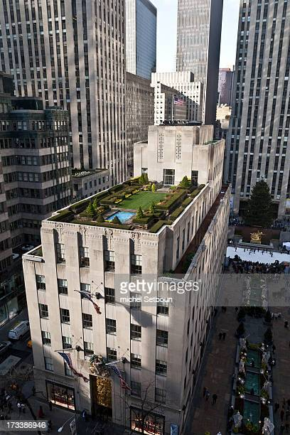 New York. Elevated view. Garden on the rootops of the Rockfeller center on fifth avenue