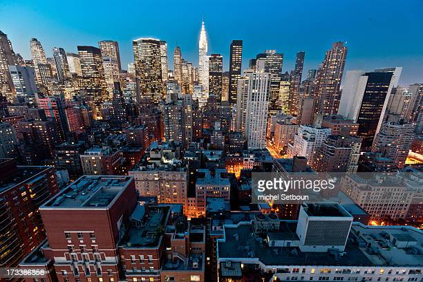 New York. Elevated view. Midtown cityscape and the chrysler building . New York - United states at dusk