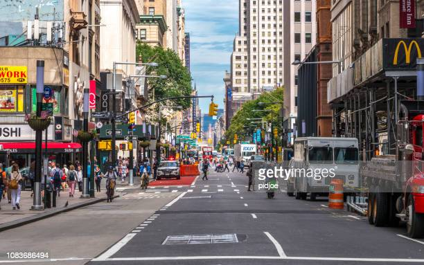 new york empty street - avenue stock pictures, royalty-free photos & images