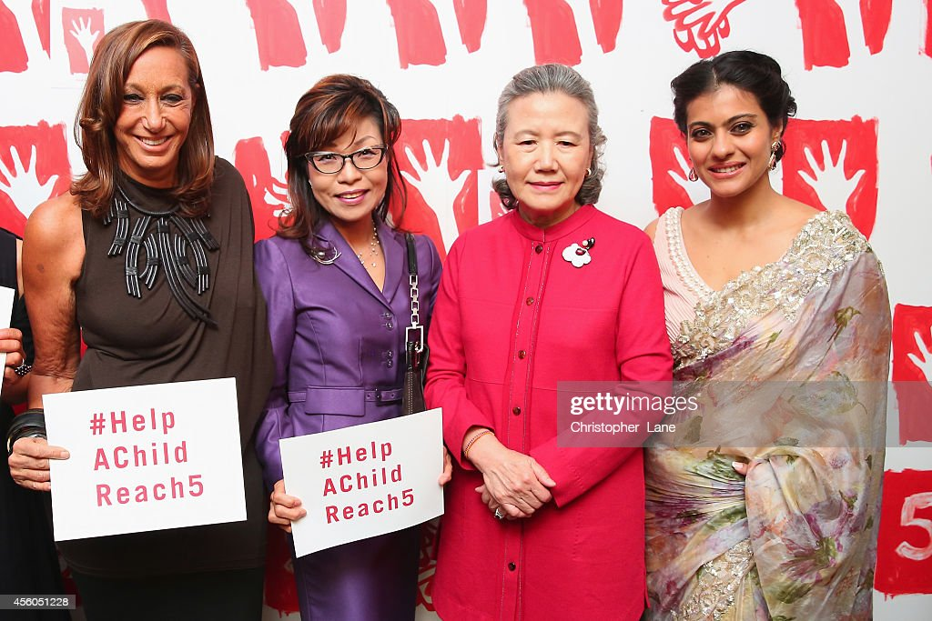 New York Fashion icon Donna Karan pledges her support for Lifebuoy's #HelpAChildReach5 campaign with Mrs Ban Soontaek and Indian actor Kajol at...