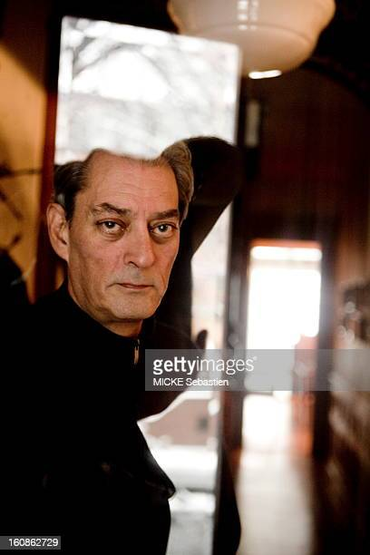 Paul Auster author of 'Invisible' in ed Actes Sud receives 'Paris Match' with him at his home in Brooklyn face plane