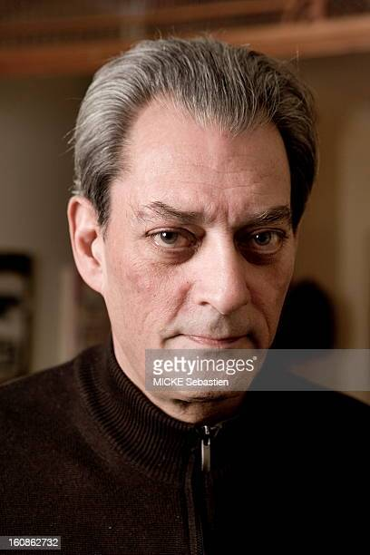 Paul Auster author of 'Invisible' in ed Actes Sud receives 'Paris Match' with him at his home in Brooklyn face portrait