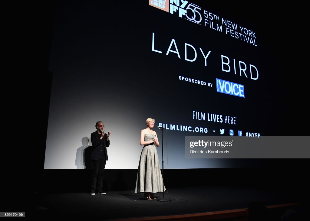 New York Film Festival director Kent Jones and writer Greta Gerwig onstage during 55th New York Film Festival screening of 'Lady Bird' at Alice Tully Hall on October 8, 2017 in New York City.