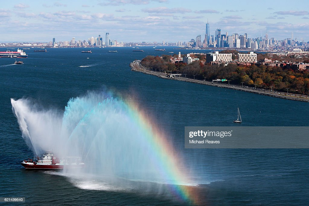 A New York Fire Department fireboat shoots off water at the start of the 2016 TCS New York City Marathon on November 6, 2016 in the Brooklyn borough of New York City.