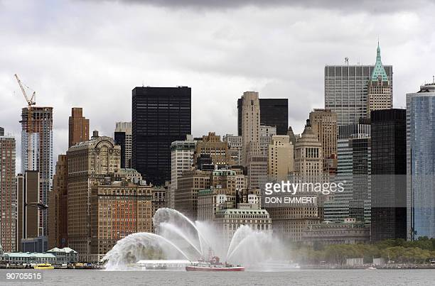 A New York fireboat salutes Dutch vessels near the south tip of Manhattan on September 13 2009 in New York Harbor The salute was part of the NY 400...