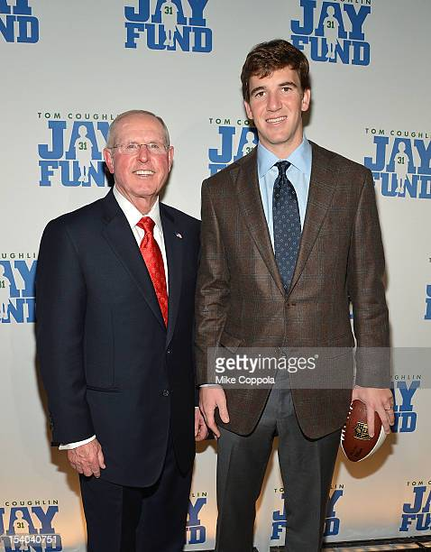New York football Giants head coach Tom Coughlin and New York football Giants quarterback Eli Manning attend the Tom Coughlin 8th Annual Champions...