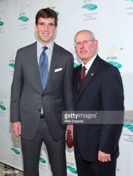 New York Football Giants quarterback Eli Manning and head coach Tom Coughlin attend the 6th Annual Tom Coughlin Jay Fund Foundation Champions for...