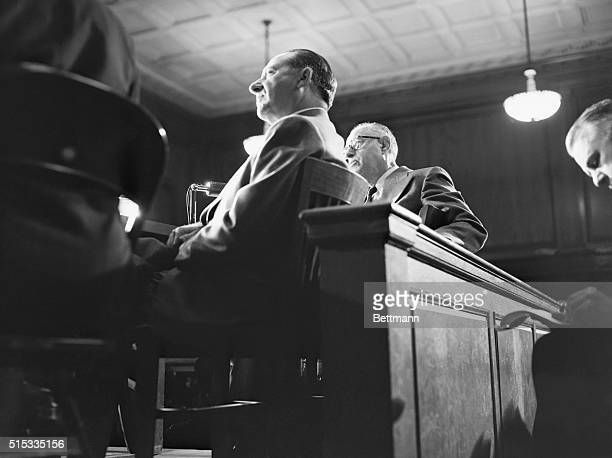 New York: Frank Costello, alleged head of a nationwide crime empire, appears before the Kefauver Senate Crime Committee, as the group began its third...