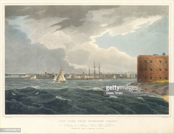New York from Governor's Island , 1823-24, Aquatint printed in color with hand-coloring; first state of three , Image: 14 1/16 x 20 3/16 in , Prints,...