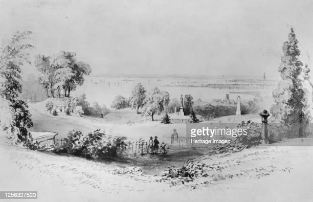 New York from Greenwood Cemetery, . Artist William Henry Bartlett.
