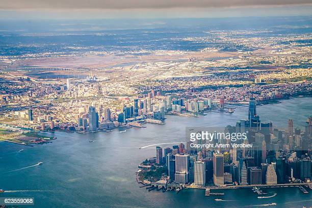 new york from the air - new jersey bildbanksfoton och bilder