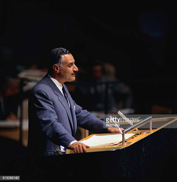 New York: Gamal Abdel Nasser, addresses the United Nations General Assembly here. Nasser called for a personal meeting between President Eisenhower...