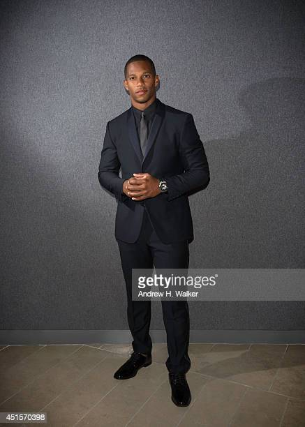 New York Giant football player, Victor Cruz is photographed at Alice Tully Hall, Lincoln Center on June 2, 2014 in New York City.