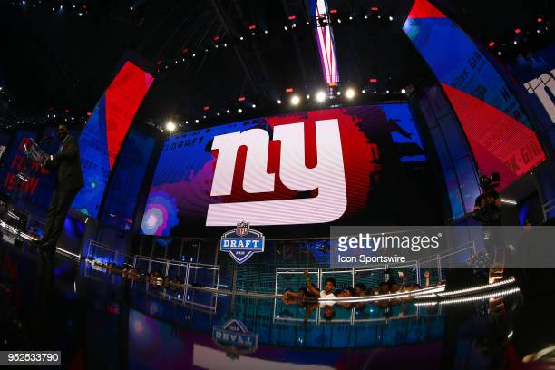 New York Giant logo on the video board during the third round of the 2018 NFL Draft on April 27 at ATT Stadium in Arlington TX