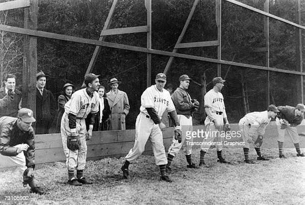 NEW ORLEANS MARCH 1934 New York Giant pitchers warm up at their spring training site in New Orleans Louisiana in March of 1934 Notable in the photo...
