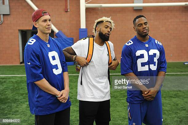 New York Giants Bradley Wing Odell Beckham Jr and Rashad Jennings attend the Nickelodeon and The New York Giants Host Tryouts for the 'Triple Shot...